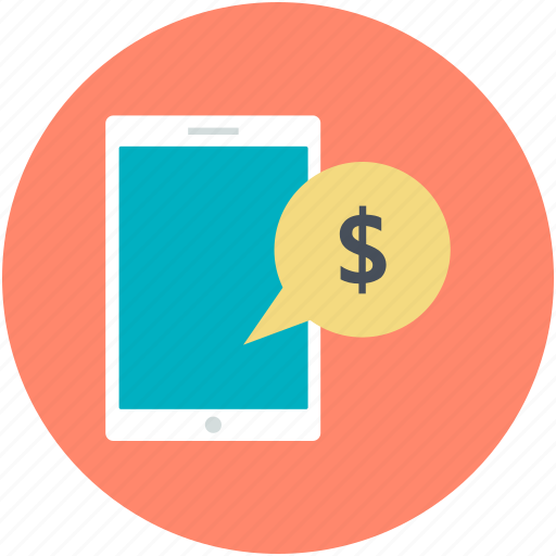 dollar bubble, mobile banking, mobile communication, mobile screen, online banking icon