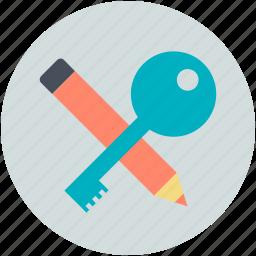 keywording, keywords, optimization, pencil with key, tagging icon
