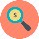 business, dollar search, dollar with magnifier, investment, looking for money