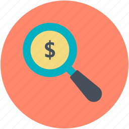 business, dollar search, dollar with magnifier, investment, looking for money icon