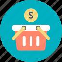 dollar sign, economy, shopping, shopping basket, supermarket icon