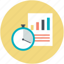 analysis, analytics, graphic report, statistics, stopwatch icon
