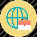 business theme, global business, globe, international business, portfolio bag icon