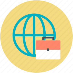 business theme, global business, globe, international business, portfolio bag icon