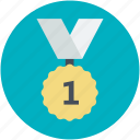 first prize, gold medal, medal, success, victory icon