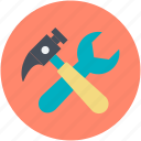garage tools, hammer, mechanic, repair tools, wrench icon