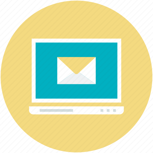 electronic mail, email, envelope sign, internet, laptop screen, modern communication icon