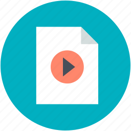 audio file, media file, page, play sign, video file icon