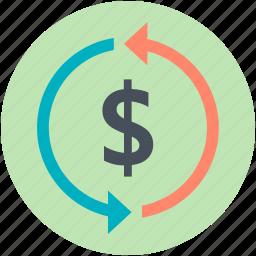 dollar refresh, money convert, profit, reinvest, reload icon