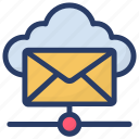 cloud computing, cloud internet mailing, cloud mail, cloud with envelope, internet mail icon