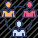 collaboration, team, team leader, team network, work group icon