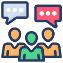 communication, conversation, forum discussion, group discussion, talking icon