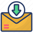 email, incoming mail, incoming message, mail download, received mail icon
