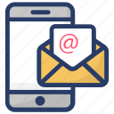 email, inbox, mobile mail, received message, received sms icon