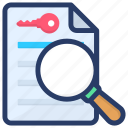 find in text, search document, search keyword, search text, word search icon