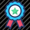 achievement, award, reward, ribbon badge, star badge icon