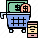 bank, cart, coin, dollar, online, shopping, smartphone icon