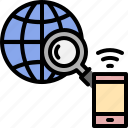 earth, glass, global, internet, magnifying, networking, smartphone