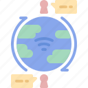 chat, communication, global, internet, map, planet, social icon