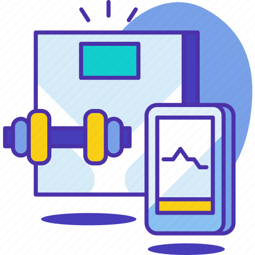 dumbbell, equipment, exercise, fitness, scale, weighing, weight icon