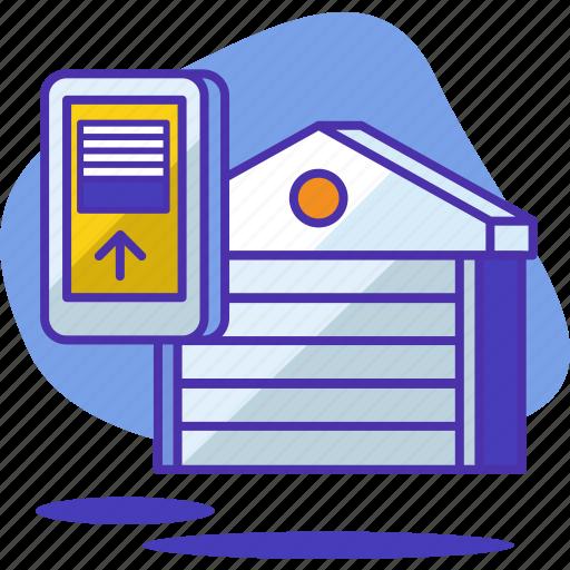 car, door, garage, home, house, opener, smart icon