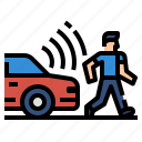 car, internet, internet of things, pedestrian, vehicle icon
