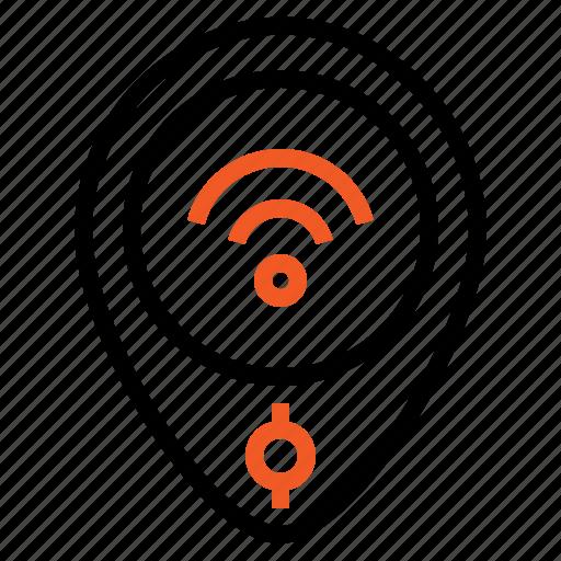 gps, internet, location, pin, wireless icon