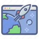 campaign, expansion, growth, launch, rocket, startup icon