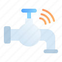 digital, faucet, internet of things, iot, pipe, technology, water icon
