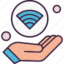 hand, internet, things, wifi