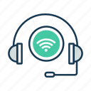 communication, headphone, internet of things, iot, wifi signal, wireless icon