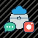 chat, cloud server, cloud storage, communication, data transfer, images icon
