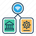 bank, digital locker, iot, safety, security, wifi, wireless communicaiton icon