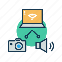 communication, internet of things, iot, server, wifi, wireless connection icon