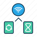 communicaiton, internet of things, iot, share, wifi, wireless connection icon