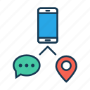 chation, communication, gps, internet, location, mobile communication icon