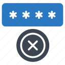 cancel, lock, password, protection, secure icon