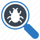 bug, magnifier, malware, search, virus icon