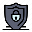 internet, lock, security, shield icon