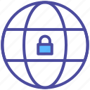 earth, globe, internet, lock, security, website icon