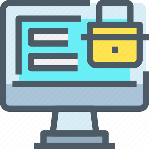 computer, padlock, secure, security, technology icon