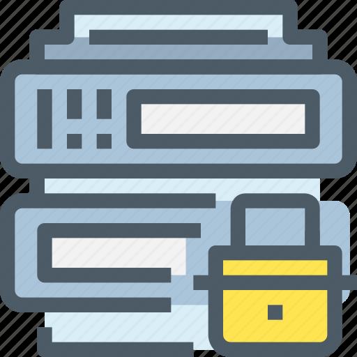 data, database, padlock, secure, security, server icon