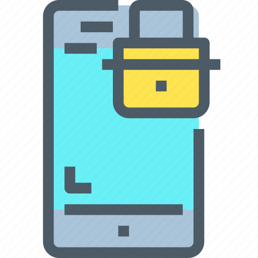 Mobile, padlock, security, smartphone, secure icon