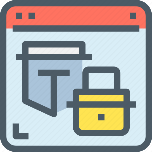 browser, hack, padlock, protection, secure, security icon