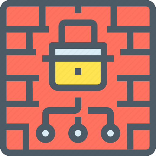 firewall, key, padlock, secuirty, secure, wall icon