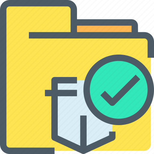 check, document, file, folder, protection, secure, security icon
