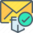 check, email, letter, mail, message, protection, secure icon