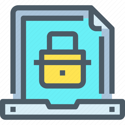 document, file, laptop, padlock, secure, security, technology icon