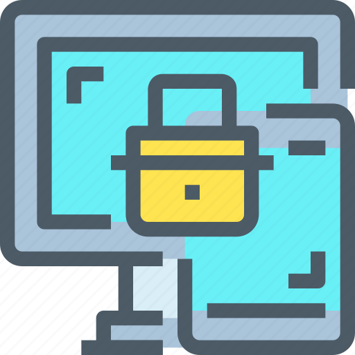 computer, laptop, padlock, secure, security, smartphone icon