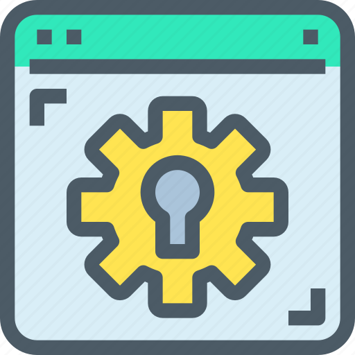 browser, gear, padlock, process, secure, security icon